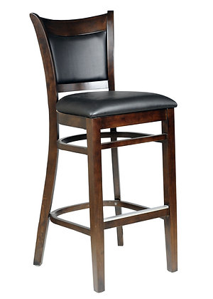 Dark wood barstools with black vinyl seat side view