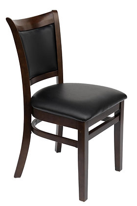 Black wood dining chair side view
