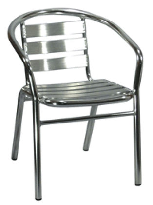Stainless steel outdoor patio chair side view