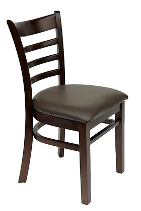 Dark wood dining chair side view