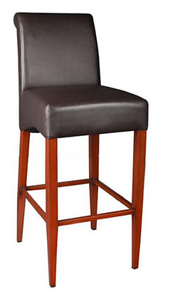 Light wood barstool with black vinyl side view