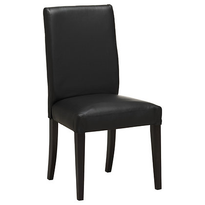 Black leather upholstery dining chair