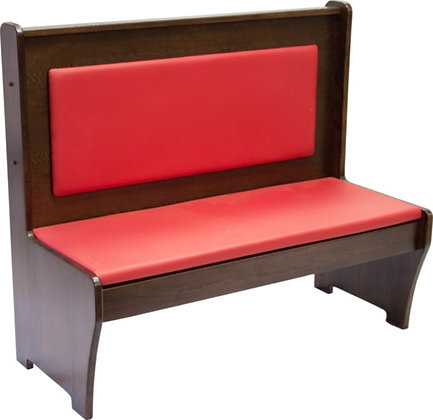 Dark wood restaurant booth with red leather padding
