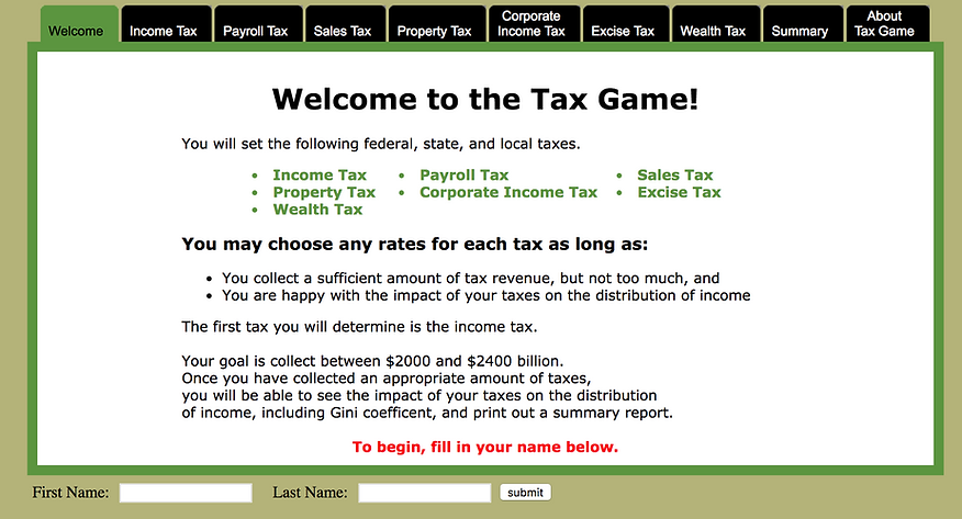 cool interactive tax game