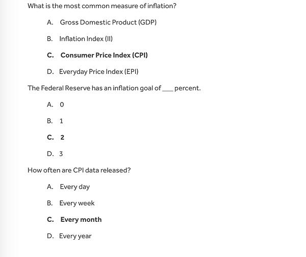 Inflation Quiz- part 2