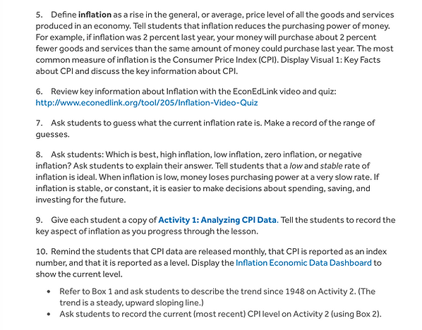 Inflation defined by On The Nose Finance by the Econ Educational Council