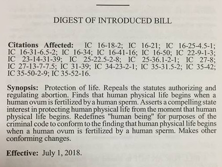 HB 1097, Protection at Conception Bill Has Been Filed