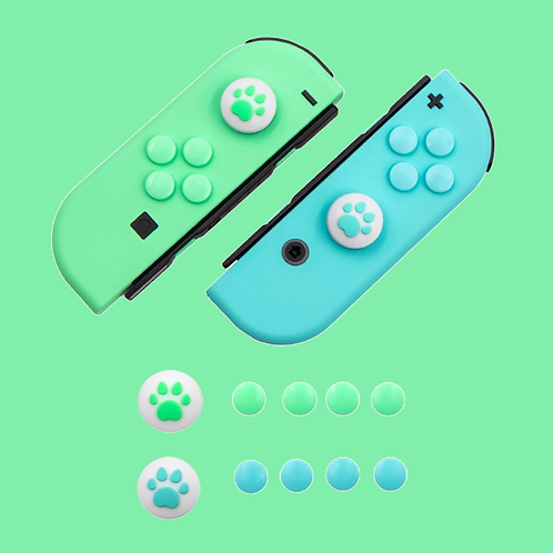 Paw Thumb Grips and Buttons BLUE/GREEN