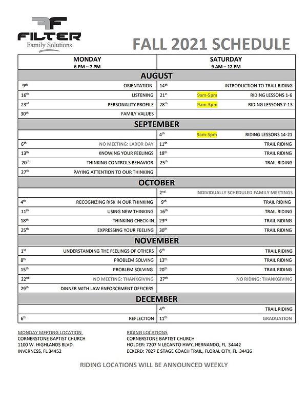 Fall 2021 Schedule