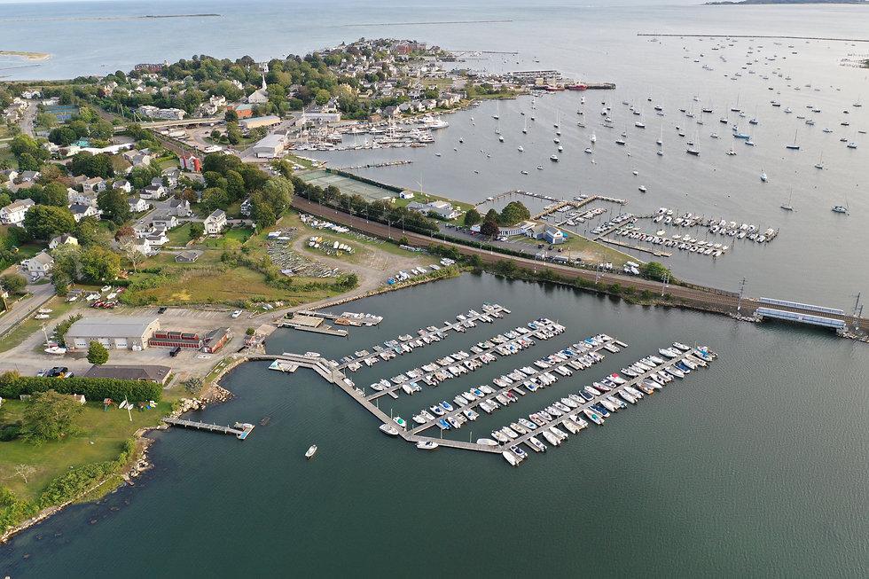 Don's Dock ariel photo, stonington CT, Stonington Harbor, docks, moorings, boats