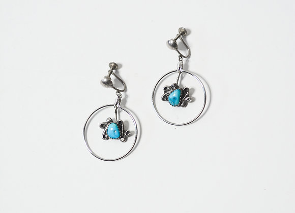 "Hanging Turquoise ""No Pierce"" Earrings"