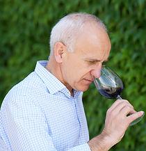 Pedro Aibar, propietario de Pagos del Moncayo olindo una copa con vino Prados