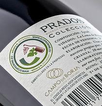 Contra etiqueta vino Prados con el sello Eco Prowein, sontenible