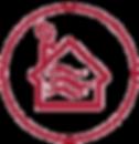 Icono casa con una hoja saliendo de la chimenea. Climatización natural