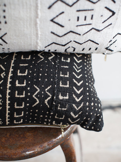 Black Vintage African Mudcloth Pillow Cover