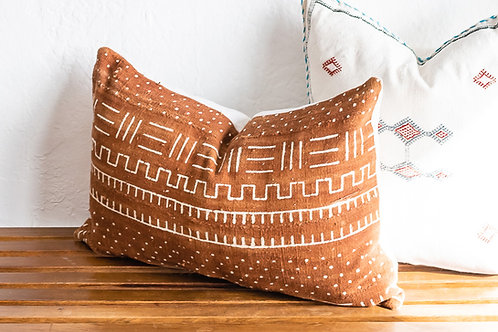 Rust Colored Vintage African Mudcloth Pillow