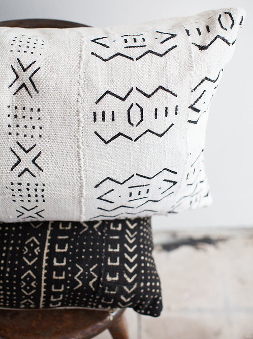 White Vintage African Mudcloth Pillow Cover
