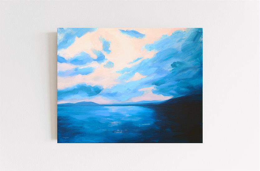 "Summer seascape painting ""WARM MEMORY"", 100*80 cm"