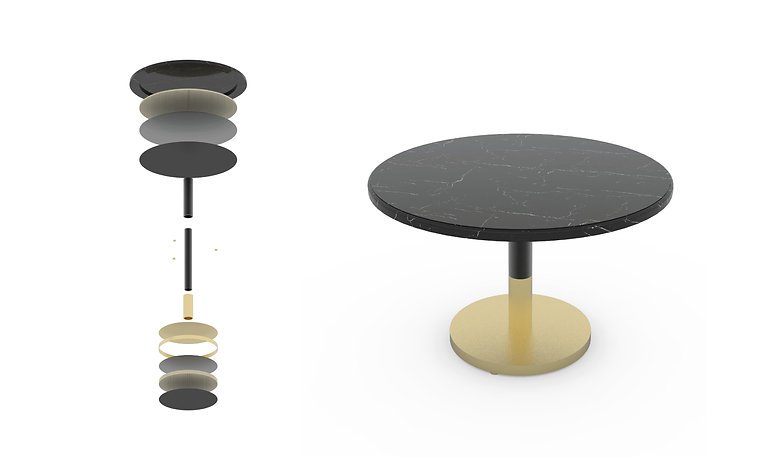 MARBLEAD BRASS MEETING TABLE
