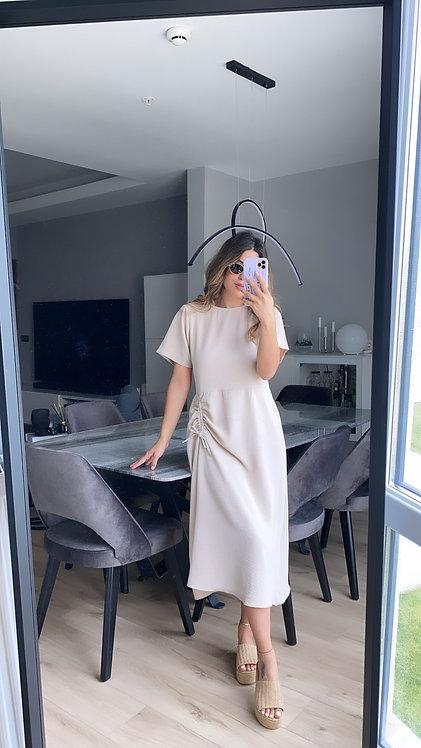 Buzgulu Tiril Bej Elbise