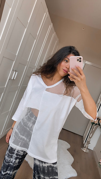 Beyaz File Tshirt
