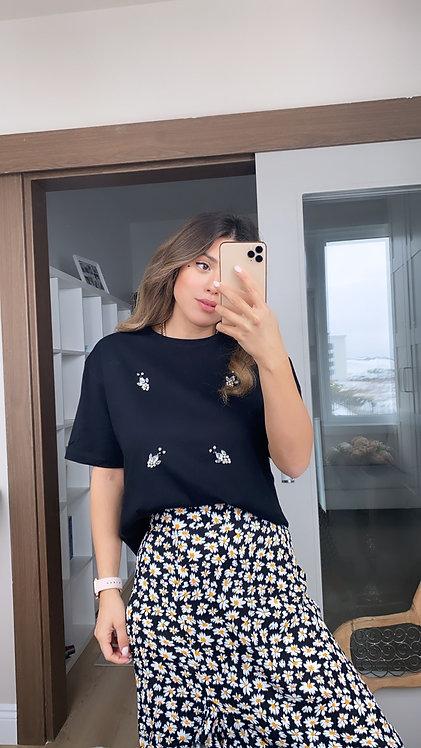 Siyah Tasli Tshirt