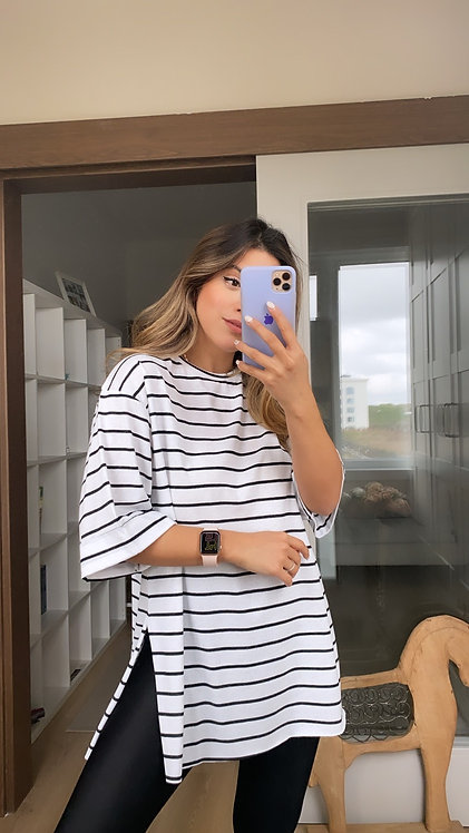 Beyaz Cizgili Tshirt
