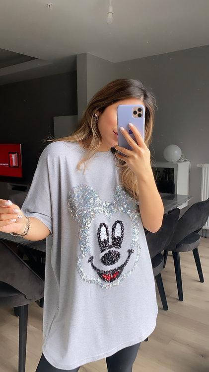 Gri Mickey Payetli Tshirt
