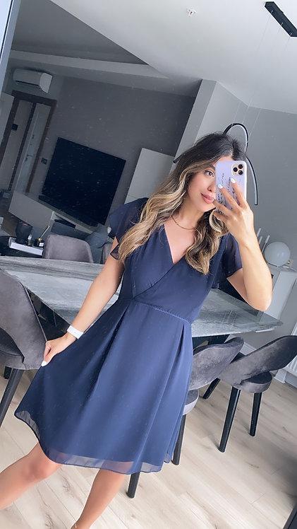 Lacivert krep Sifon Elbise