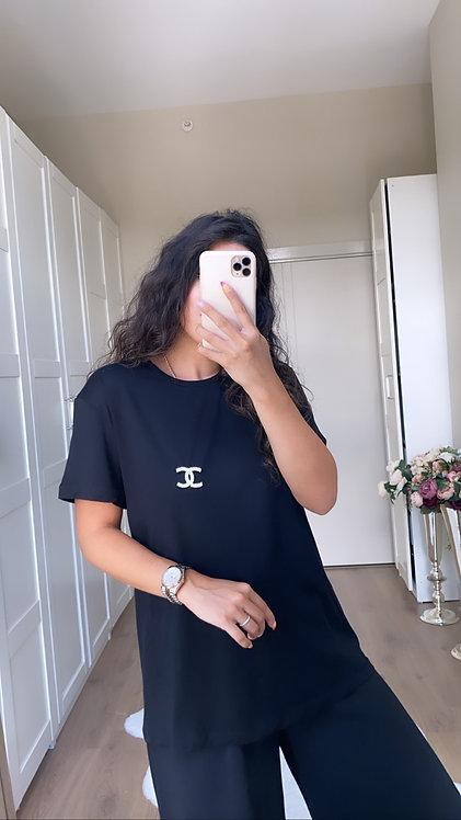 Bros Detayli Siyah Tshirt