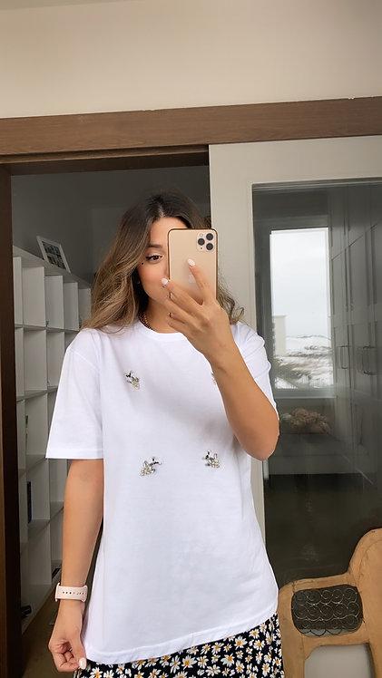 Beyaz Tasli Tshirt