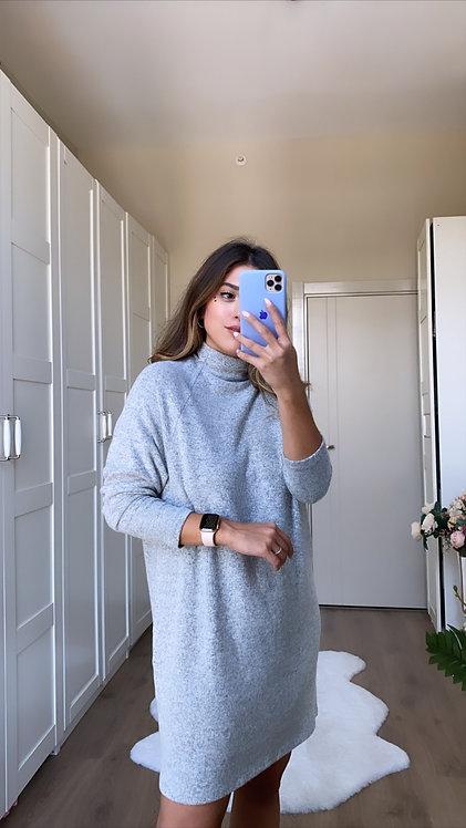 Gri Yumos Triko Elbise