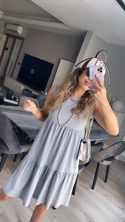 Gri 3 kat basic penye elbise