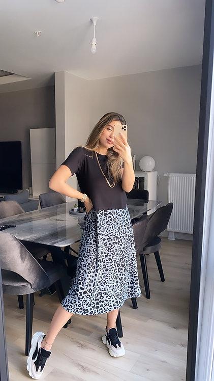 Alti leopar Desenli Elbise
