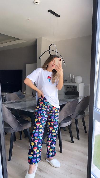 Mantar Nakisli Lacivert Pijama Takimi