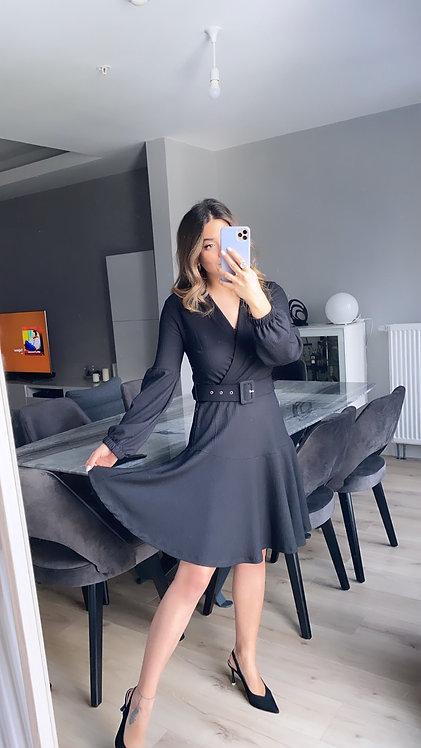 Siyah Kemerli Kruvaze Elbise