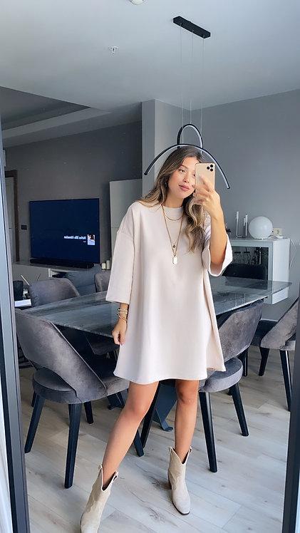 Bej basic oversize Sweat elbise