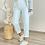Thumbnail: Beyaz flotlu kumas pantolon