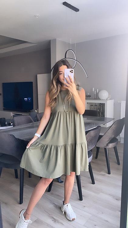 Haki 3 kat basic penye elbise