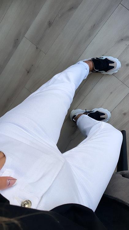 Beyaz Mom kalip Pantolon