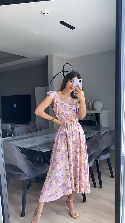 Pudra lila cicekli Tiril Elbise