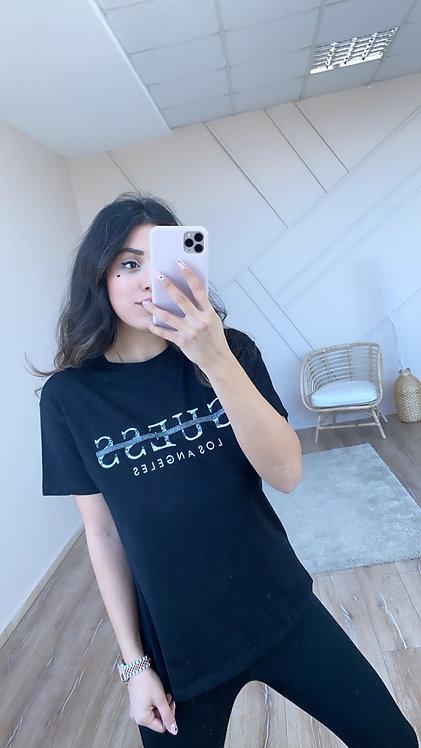 Siyah Guess Yazili Tshirt