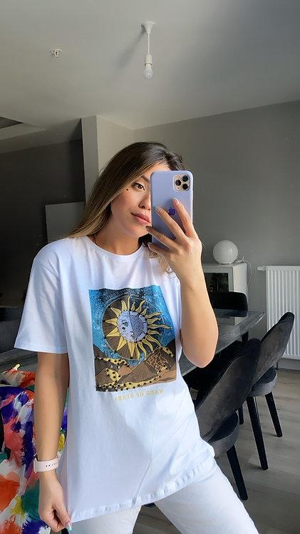 Gunes baski Tasli Tshirt