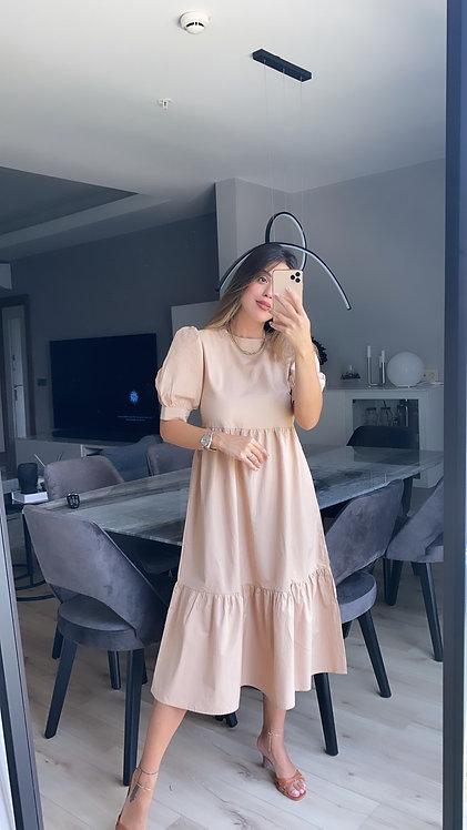 Bej Poplin Elbise