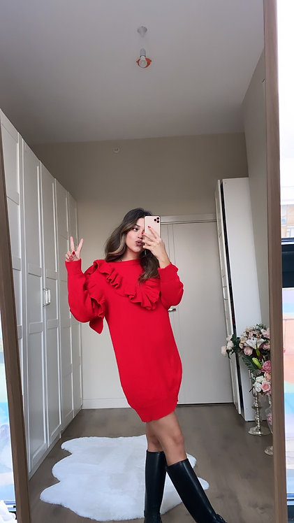 Kirmizi Firfirli Triko elbise