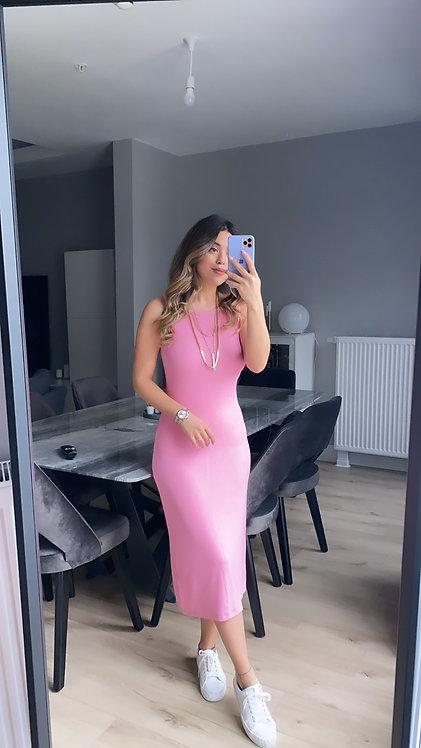 Pembe Kaskorse Basic Kalem elbise