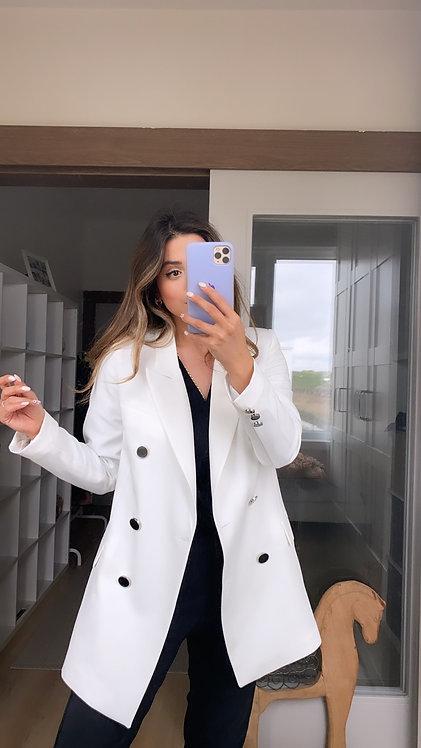 Beyaz Krep Astarli Ceket
