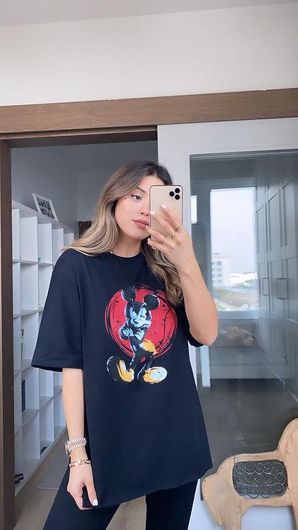 Siyah mickey baski Duble Kol Tshirt