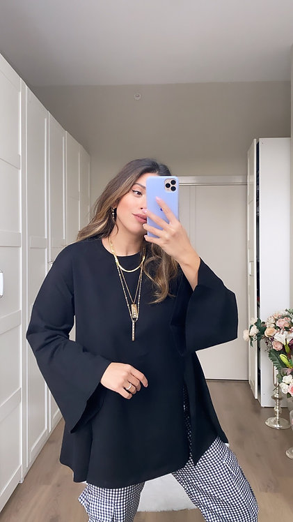 Siyah basic yirtmacli Bluz