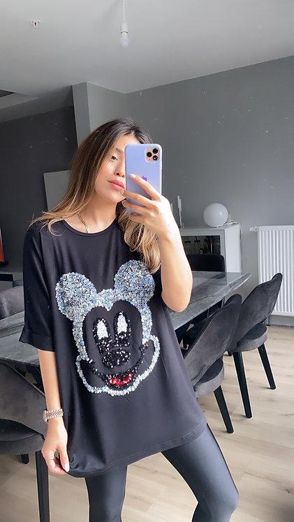 Siyah Mickey Payetli Tshirt